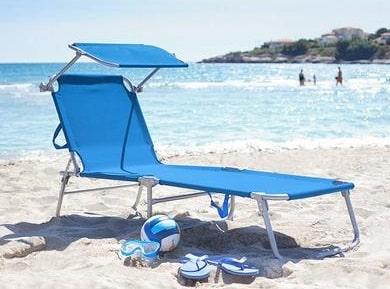Transat plage pliable bleu