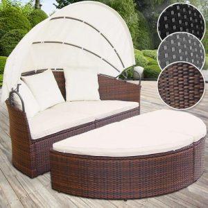 lit canapé salon de jardin en résine tressée